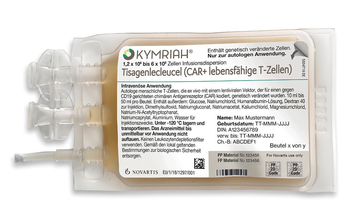 Kymriah® – eine der neuen CAR-T-Zelltherapien. Das Besondere: Das Arzneimittel muss nur einmal verabreicht werden bei gleichzeitig hohen Heilungschancen. Die Therapiekosten, so steht es im Dossier des Herstellers Novartis, liegen bei 380.800 Euro pro Patient. © Novartis